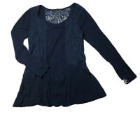 RXB Womens Tunic Top Blue Thermal Waffle Knit Lace Long Sleeve Scoop Flare M