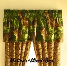 "Safari Jungle Cats CHEETAH LEOPARD Animal Print WINDOW Treatment 18""x84""VALANCE"