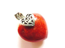 "1"" 925 Sterling Silver Filigree Farmed Coral Orange Red Chunky heart pendant New"