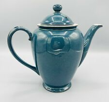 "RARE DENBY-Langley England Blue Green Teapot Coffee Pot & Lid 6 Cup 9"" Boston"