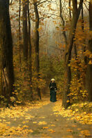 Art Canvas Print Walking in the woods Oil painting Giclee Printed on canvas P611
