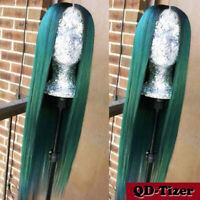 Long Straight Hair Ombre Green Glueless Heat Resistant Synthetic Lace Front Wigs
