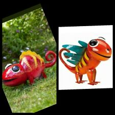 2x Metal Animal Garden Ornament Colourful Hand Painted