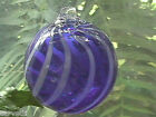 "Hanging Glass Ball 4"" Diameter Cobalt Blue with White Swirl Witch Ball (1) HB3"