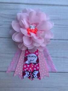 Pink Hello Kitty Birthday Corsage Pin,Hello Kitty Birthday Badge,Birthday Pin