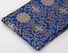 1/2YD TIBET DAMASK JACQUARD BROCADE TAPESTRY FABRIC : FLORAL DORJE, GOLD & BLUE