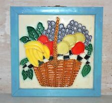 Old Antique India Ceramic Fruits Bucket Painted Wall Porcelain & Pottery Tile