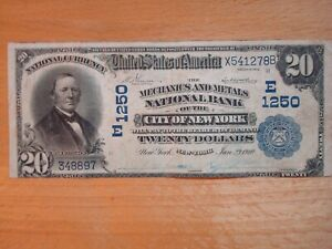 1902 MECHANICS & METALS NATIONAL BANK CITY OF NEW YORK $20 $20.00 CURRENCY NOTE