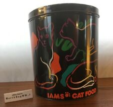 *RARE* VINTAGE IAMS CAT CAN Metal Tin Canister Cat Food Storage Container LARGE