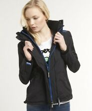 New Womens Superdry Technical Windcheater Jacket Black