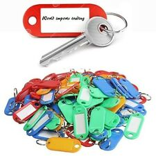 250 ASSORTED COLOURED PLASTIC KEY RING ID TAGS + NAME/ID CARD Language Fob Label
