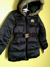 NWT Juicy Couture Black Belted Puffer Shiny Hooded Jacket Winter Girls' Coat 6