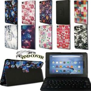 For Amazon Fire HD 8 With Alexa - Leather Stand Cover Case + Bluetooth Keyboard