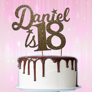 Custom Personalised 18th Birthday Glitter Cake Topper Name Age  1st 21st, 50th,