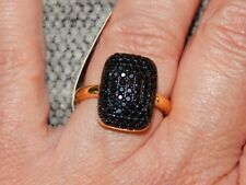 BOI PLOI BLACK SPINEL CLUSTER RING-SIZE S-2.500 CARATS-WITH 14K GOLD