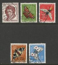 Switzerland 1955 Pro Juventute--Attractive Insect Topical (B247-51) fine used