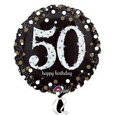 Nero & Oro Celebrazione 50° Compleanno Palloncini Compleanno Decorazioni Festa
