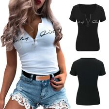 Women's Sexy Casual Zip-Up V-Neck Short Sleeve Slim Elastic Fit Blouse T-Shirt