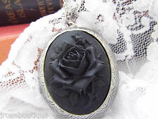 BLACK ROSE Cameo Steampunk Goth Necklace Locket MOURNING URN LARPING MEDIEVAL