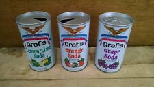 Lot 3 1976 Graf's Soda Pop Cans - American Inventors - Lemon Lime, Orange, Grape