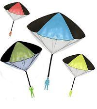 Toy Skydiver Parachute Men 4 Piece Set-Tangle Free (Orange, Blue, Green, Yellow)