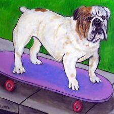Bulldog SKATEBOARDing dog art tile coaster gift artwork modern skate board
