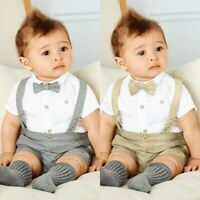 Newborn Baby Boy Wedding Formal 2pcs Suit Bowtie Gentleman Tuxedo Outfit 0-24M