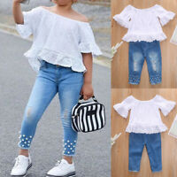 ❤️2PCS Toddler Kids Baby Girl Casual Ruffle T Shirt Tops Jeans Pants Outfits Set