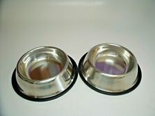 2 STAINLESS STEEL Non Skid Pet Dog Puppy Cat No Tip Bowl Dish