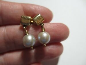 STUNNING RETIRED JAMES AVERY 14K YG 8+MM CULTURED PEARL DANGLE EARRINGS-NO RES!