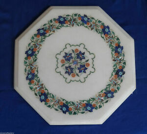 "15""x15""  Unique Marble Dining Top Table Art Malachite Inlay Patio Decor"