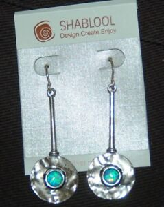 SHABLOOL DIDAE ISRAEL Blue Fire Opal 925 Sterling Silver Drop Dangle Earrings