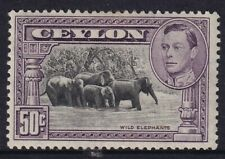 Ceylon King George VI 1938 50c Purple & Black Perf 13.5  MLH SG394b