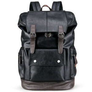 New Fashion Mens Leather School Shoulder Backpack Travel Rucksack Satchel Bag