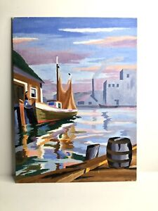 VINTAGE PAINT BY NUMBER FISHING BOAT HARBOR SCENE OIL PAINTING