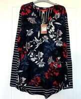 NEW EX JOULES UK SIZE 8 10 12 NAVY RED FLORAL SCARLETT PART JERSEY  BLOUSE TOP