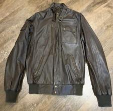 Adidas Originals Freizeit Leather Jacket Brown Small Chocolate Bomber
