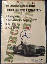 Rennplakat Mercedes-Benz Großer Preis von England 1955 Liska Fangio signiert