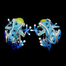 Sterling Silver 925 Blue Enamel Frog Design Earrings