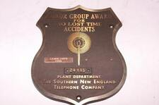 VINTAGE BRASS SHIELD SNET SOUTHERN NEW ENGLAND TELEPHONE CO AWARD PLAQUE