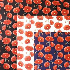 Poppies Fabric 100% Cotton Poplin - Floral Poppy From Rose & Hubble