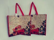 TJ Maxx Large Holiday Shopping Tote Bag Santa Christmas Reusable NWT