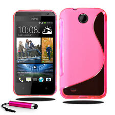 Para Htc Desire 300 Grip Wave S Line Gel caso suave cubierta del teléfono + Pantalla + Stylus