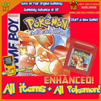 Pokemon Red, Game Boy, Enhanced, all 151 Original Pokemon Living Pokedex