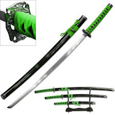 3 Piece Green & Black Samurai Katana Swords Sword Set With Stand SW-72GN4-2