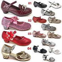 GIRLS PATENT GLITTER WEDDING BRISTAL SMAID DIAMANTE LOW HEEL PARTY SHOES