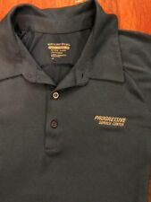 Progressive Insurance Employee Blue Gray 3 Button Collard Polyester Shirt