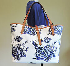 Brahmin All Day Delft Blue White Coated Canvas Leather Trim Shoulder Tote NWT
