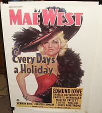 """MAE WEST """"EVERY DAY'S A HOLIDAY"""" ADOLPH ZUKOR COLOR 1977 POSTER"""