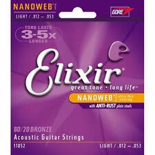 3 sets Elixir 11052 nanoweb acoust guitare cordes 12-53